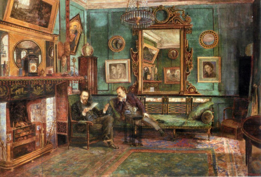 "Dante Gabriel Rossetti leyendo ""Sonnets and Ballads"" a Theodore Watts Dunton, de Henry Treffry Dunn, 1882."